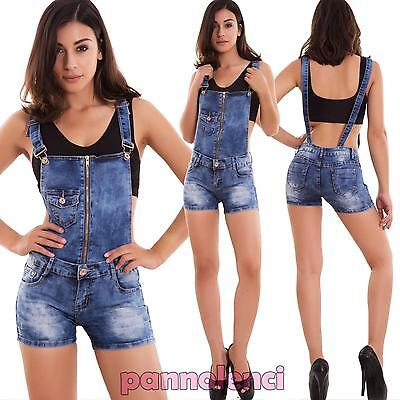 Dungarees woman overall suit skinny shorts shorts zip pocket new 6161