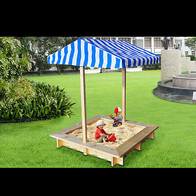 Wooden Backyard Sandbox for Kids, Children Outdoor Sandpit With Canopy
