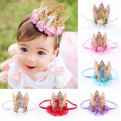 Gold Glitter Baby Crown Princess First Birthday Lace Crown Photo Prop Headband