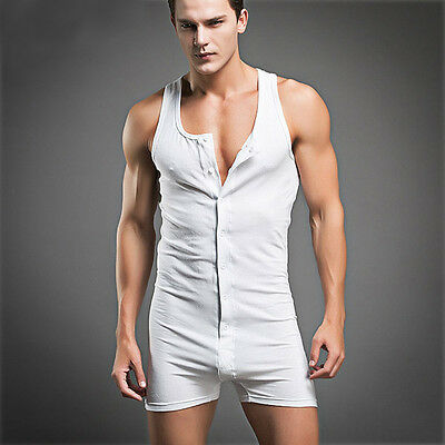 Men's Sexy Nightwear Cotton Pajama Underwear Comfort Sleeveless Vest Onesies