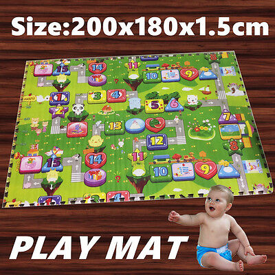 15mm DIY Kids Baby Crawl Play Mat Game Alphabet Rug Floor Blanket Puzzle Foam OZ
