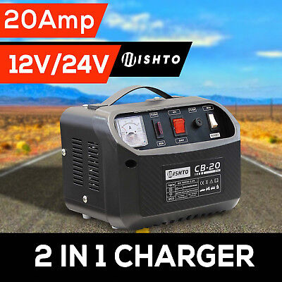 Battery Charger 2 in 1 20A  12V 24V  240V Car ATV Boat 4WD Caravan Motorcycle