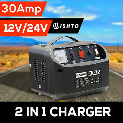 2 in 1 Battery Charger 12V 24V  -30 Amp 240V Car ATV Boat 4WD Caravan Motorcycle