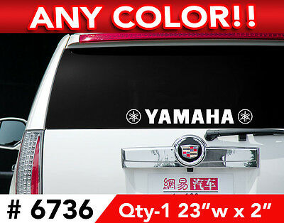 """YAMAHA w/ LOGOs ROUND R6 R1 LARGE DECAL STICKER 23""""w x 2"""" in ANY 1 COLOR"""