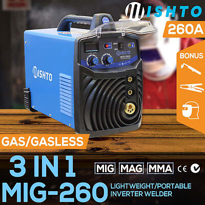 NEW 260 Amp MIG ARC Gas/Gasless Portable Inverter Welder Welding Machine MAG