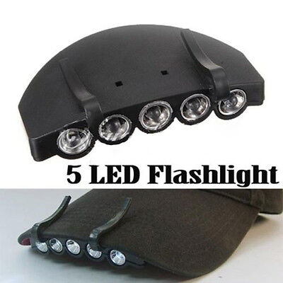 HOT 3 Modes 1*Clip-On 5 LED Head Lights Lamp Cap Hat Camping Torch w/Clip Hand