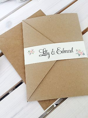 1 kraft pocket wedding invitation/RSVP/wish 'Lilly' sample with floral wrap