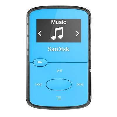 SanDisk Clip Jam 8GB MP3 Player Blue With Lcd New Uk SDMX26-008G-G46B
