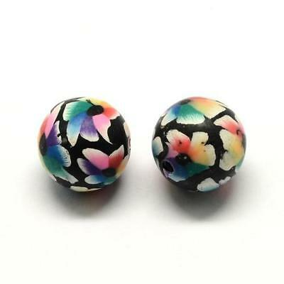 Packet of 20 x Black/Mixed Polymer Clay 13mm Round Beads HA24105