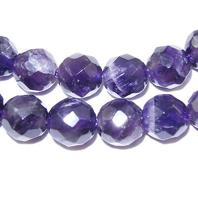 Strand Of 45+ Purple Amethyst 8mm Faceted Round Beads HA04280