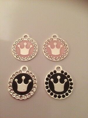 Pink Princess / Prince Crown Engraved Pet Tag / Disc with Diamantes  - Cat /Dog