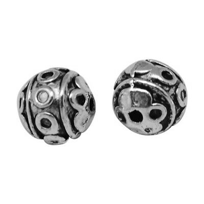 Packet of 20 x Antique Silver Tibetan 8mm Round Spacer Beads HA17435