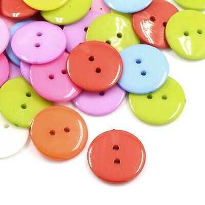 Pack of 50+ Mixed Acrylic 12mm Round Buttons (2 Hole) HA09545