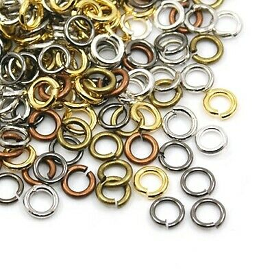 Packet 500+ Mixed Plated Iron Round Open Jump Rings 0.7 x 5mm HA11910