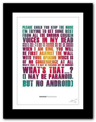 RADIOHEAD Paranoid Android ❤  song lyrics typography poster art print #91