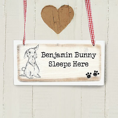Personalised RABBIT Wooden Hanging Sign - Add Name and Message