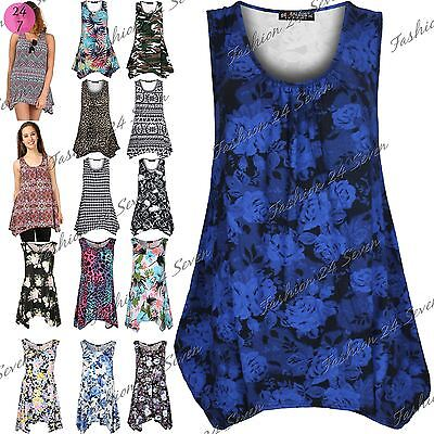 Womens Ladies Printed Ruched Sleeveless Flared Vest Swing Dress Top Plus Size