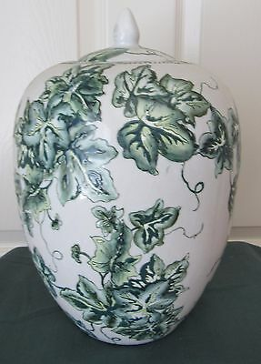 Accent Ceramic Ginger Jar, , Ivy Pattern, With Lid