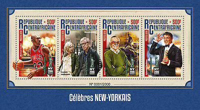 Cent African Rep 2016 MNH New York Celebrities NY2016 4v MS Stan Lee Stamps