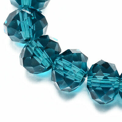 Strand of 70+ Teal Czech Crystal Glass 6 x 8mm Faceted Rondelle Beads HA20365