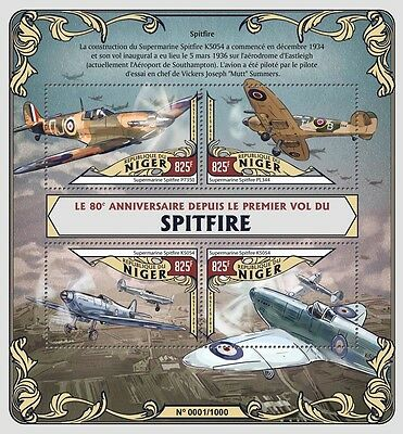 Niger 2016 MNH Spitfire First Flight 80th Anniv 4v M/S Aviation Airplanes Stamps