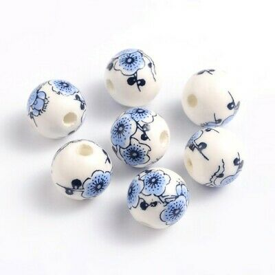 Packet of 10 x White/Blue Porcelain 12mm Round Beads HA27305