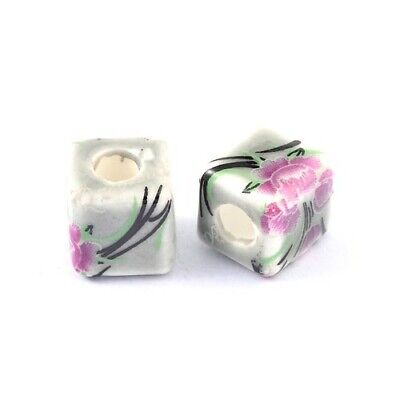 Porcelain Cube Beads 10mm Dark Grey/Pink 10 Pcs Art Hobby DIY Jewellery Making
