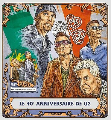 Niger 2016 MNH U2 40th Anniv 1v S/S Bono The Edge Music Celebrities Stamps
