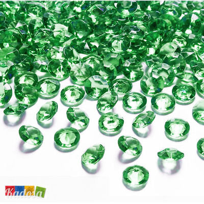 100 pz Diamanti Decorativi 12 mm VERDE SMERALDO - Diamantini Centrotavola Party