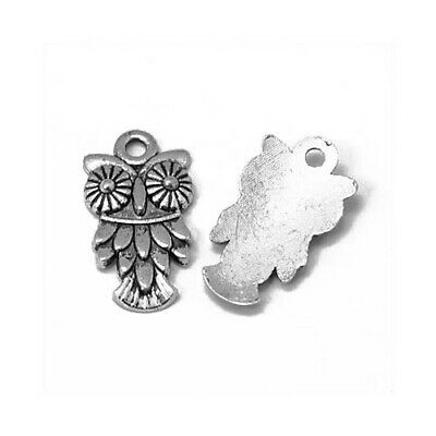 Packet of 15 x Antique Silver Tibetan 20mm Charms Pendants (Owl) ZX01625