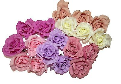 **NEW** LARGE PASTEL ROSE ON FORKED HAIR CLIP ACCESSORIES 50s WEDDINGS BURLESQUE