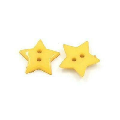 Pack of 50+ Dull Yellow Acrylic 19mm Star Buttons (2 Hole) HA09560