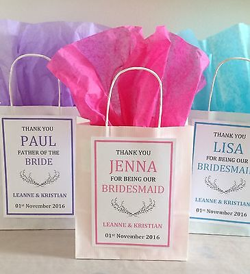 Personalised Vintage White Paper Favour Bags/Gift/Wedding/Hen/Christening/Party
