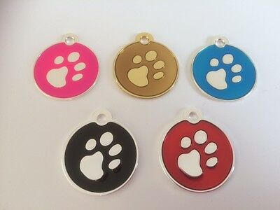 Elegance Paw Print Engraved Cat/Dog/Pet ID NAME tags BONE/DISC Variations....