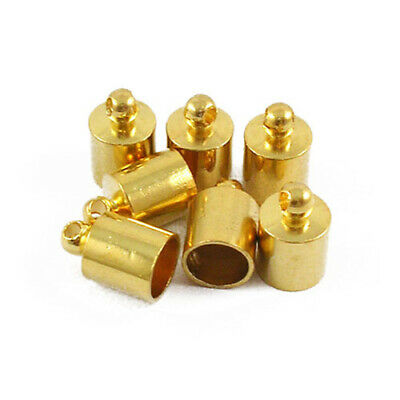 Pack Of 30 x Golden Plated Brass 6mm Kumihimo Barrel End Caps HA01401