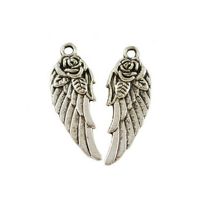 Angel Wings Charm/Pendant Tibetan Antique Silver 11 x 30mm  30 Charms Accessory