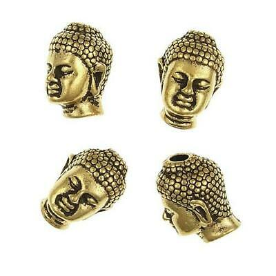 Pack Of 5 x Antique Gold Plated Alloy 10 x 13mm Solid Buddha Head Beads HA02495