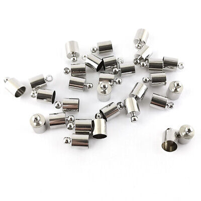 Pack Of 30 x Platinum Plated Brass 6mm Kumihimo Barrel End Caps HA03205