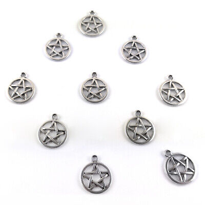 Pentagram Wicca Pagan Charm/Pendant Tibetan Antique Silver 17mm  10 Charms