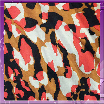 """100% Rayon Challis Camouflage Camel, Off White, Pink And Black 58"""" Wide Fabric"""
