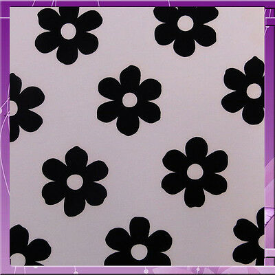 Floral / Flower Print Ponte Roma Fabric 58 Inches Sold By The Yard White / Black