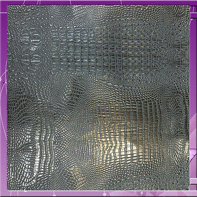 Crocodile Texture Design Vinyl 54 Inches Wide Fabric Sold By The Yard Silver