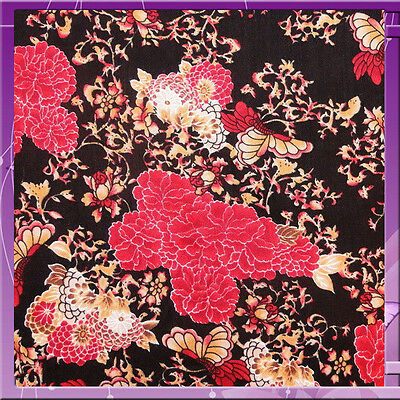 100% Double Weight Rayon Flower Print Fabric 54 Inches Wide Red & Gold
