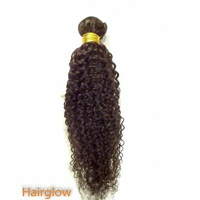 "Virgin hair 20"" Kinky curls Brazilian virgin Hair,Natural Black,1B"