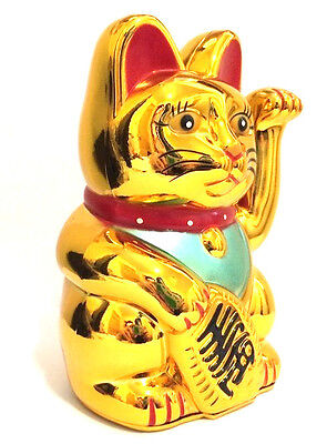 "LARGE Feng Shui GOLD BECKONING CAT Wealth Lucky Waving Kitty Maneki Neko 6"" Tall"