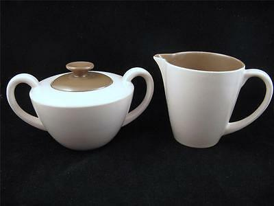 Poole MUSHROOM & SEPIA Twintone Lidded Sugar and Creamer Set *WOW!*