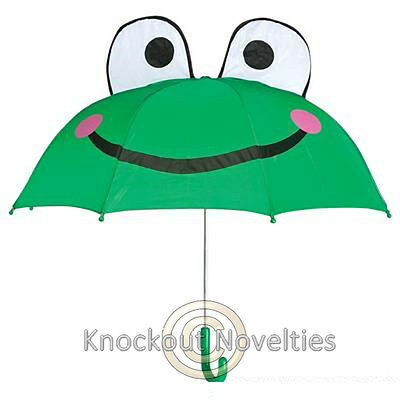 Frog Umbrella Animal Rain Kids Size Fun Easy Open Raining Froggy Green Kid Gift