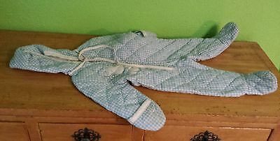 Vtg 1970's Infant Baby 9 Months Zip Up Footed Pajamas Sleeper Blue White Checker