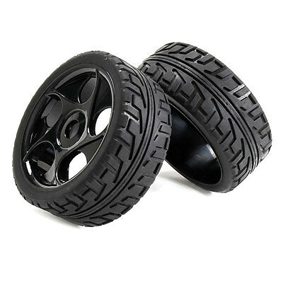 4xHigh Grip Rubber Tyre & Plastic 5 Holes Wheel Rim for RC1:8 Off Road Car Black