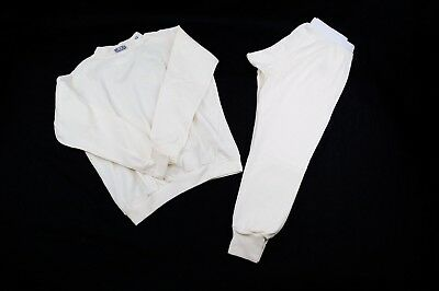 Rjs Sfi 3.3 Fr Racing Armor Underwear Aramid Nomex 2 Piece Top & Bottom White 3X